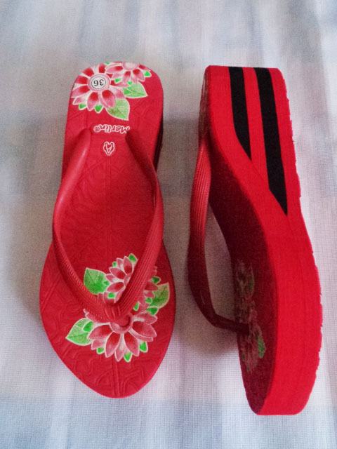 pabrik Sandal Merlin ASLI Spon IMPORT Tebal Print merah