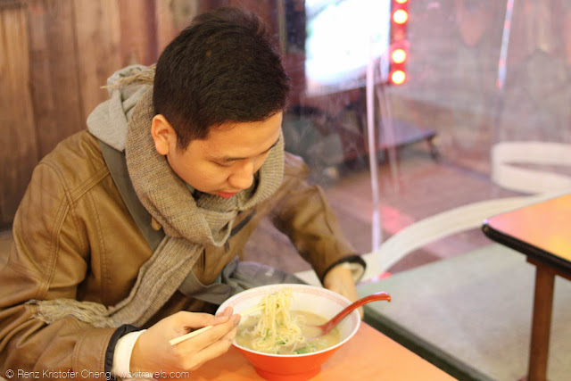 Renz Cheng in a ramen house in Dotonbori