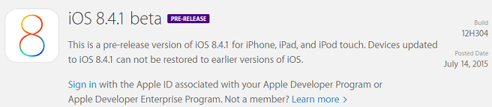Apple iOS 8.4.1 Beta 1 (Build-12H304)