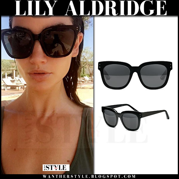 Lily Aldridge with large black sunglasses elizabeth and james allen what she wore