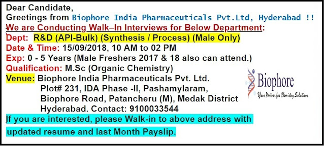 Biophore India Pharmaceuticals Walk In Interview For Freshers & Experienced Candidates at 15 Sep