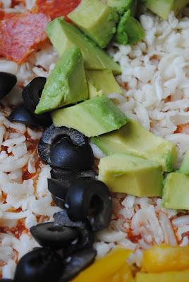 avocada, olives, pepperoni, jicama, peppers pizza