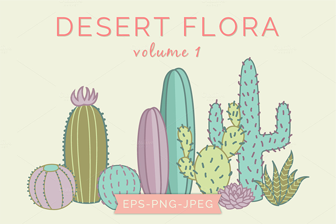 Cactus Plants Vector Clip Art - Digital Sugar