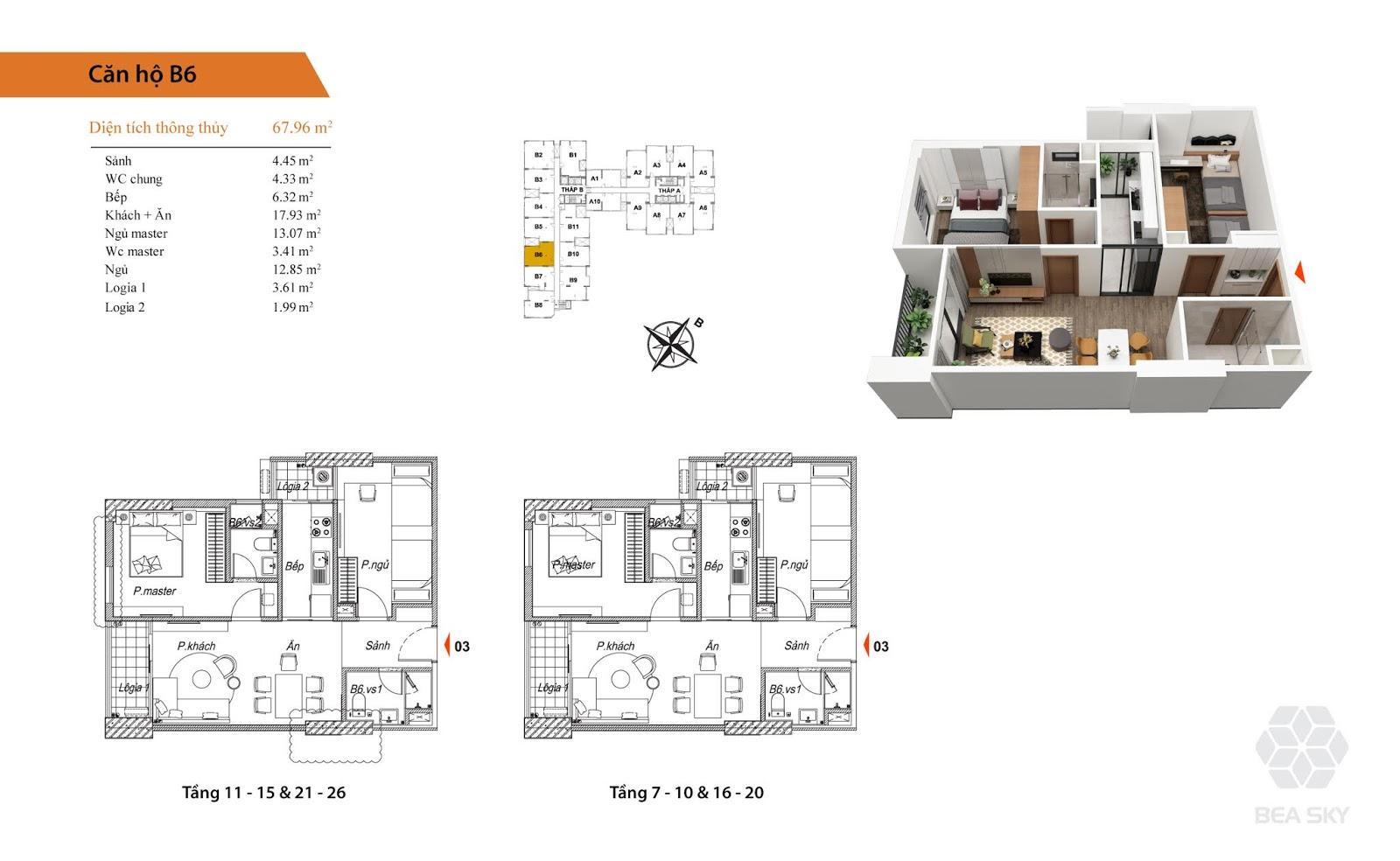 Thiết kế căn B6 chung cư Bea sky nguyễn xiển