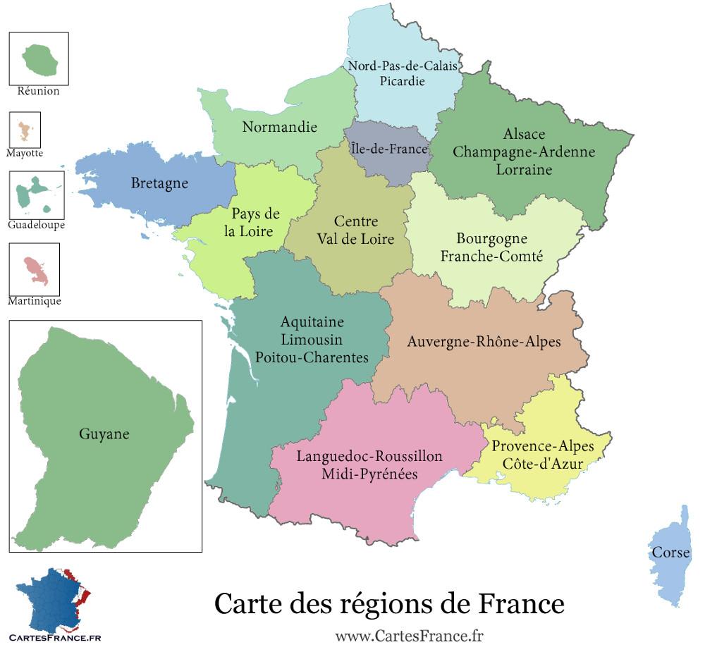 mapa frança por departamentos Dicas Práticas de Francês para Brasileiros: Regiões e  mapa frança por departamentos