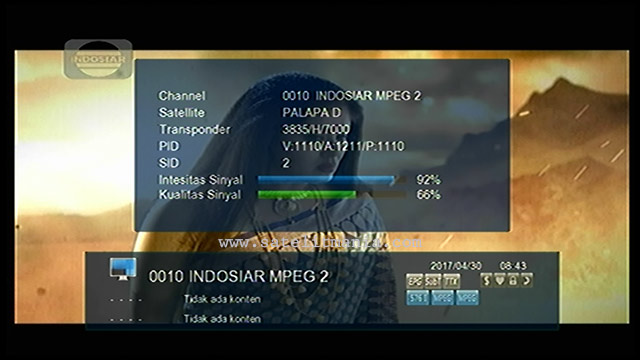Channel Indosiar MPEG2 Terbaru 2017 di Satelit Palapa D