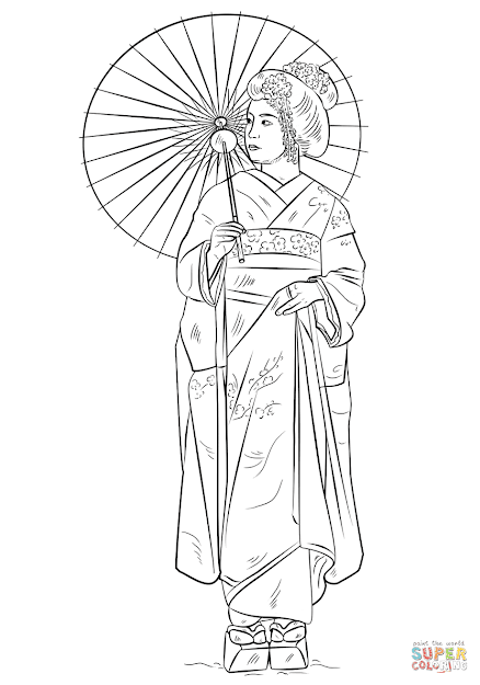 Click The Japanese Girl In Traditional Dress Coloring Pages To View  Printable Version Or Color It Online Patible With Ipad And Android  Tablets