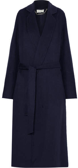 By Malene Birger - Vitala Belted Wool-blend Coat – Navy