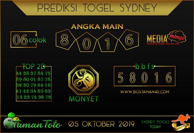 Prediksi Togel SYDNEY TAMAN TOTO 05 OKTOBER 2019