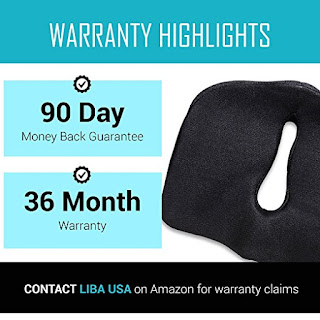 "LiBa Seat Cushion 5"" Memory Foam Supported Comfortable Durable Chair Home Office Car Sciatica Prostate Hemorrhoid Low Back Pain Tailbone Coccyx..."