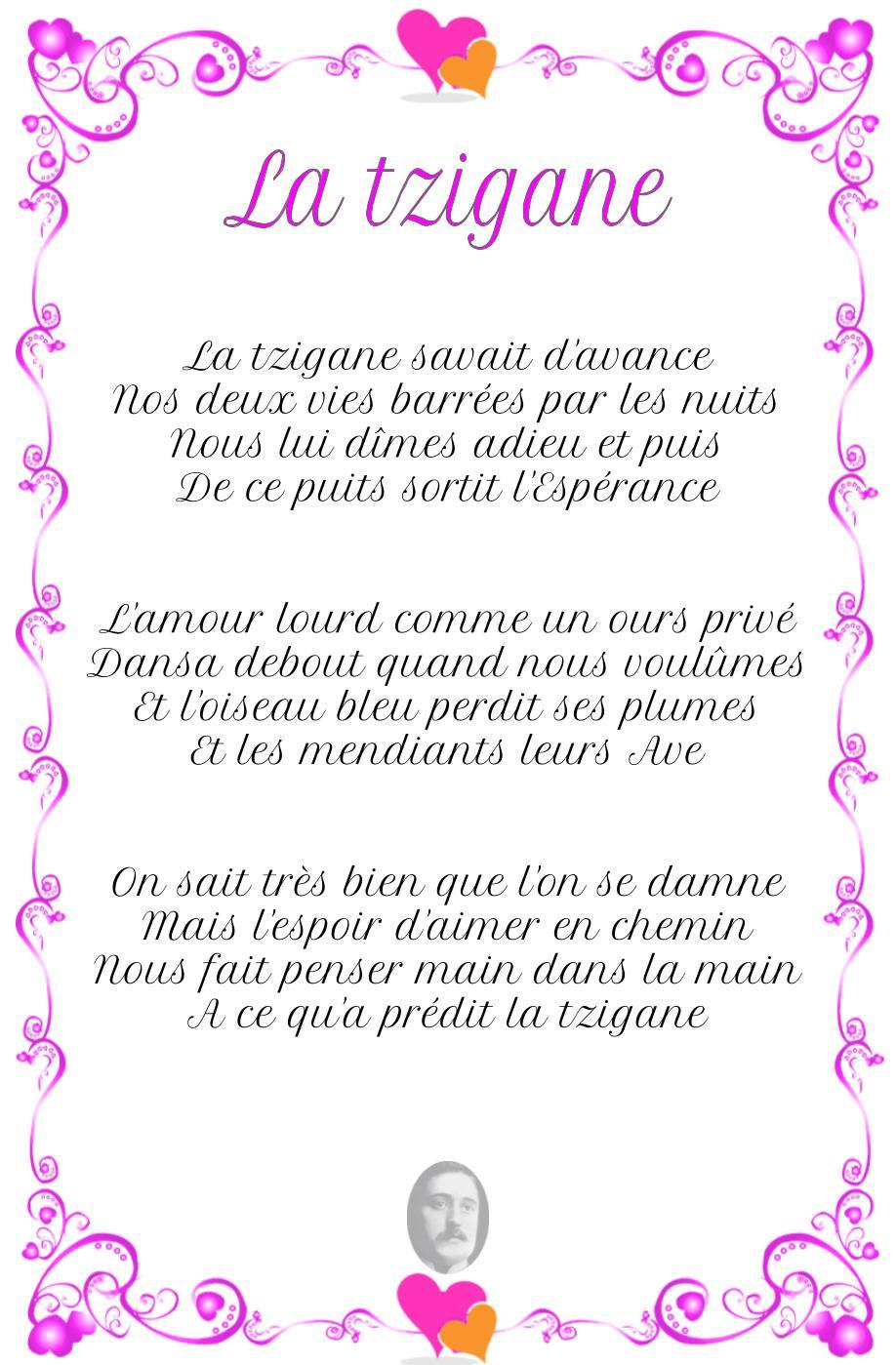 LA TZIGANE, poème de Guillaume Apollinaire