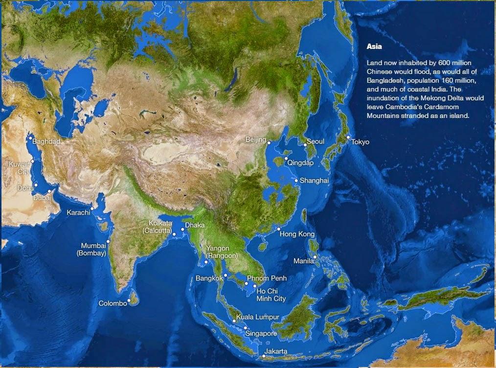 Se o gelo do mundo derreter - Ásia