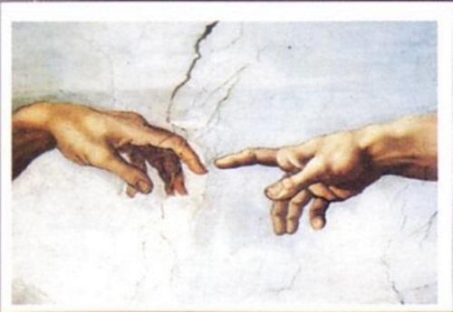 Fragmento de A Criação de Adão, afresco de Michelangelo Buonarroti.