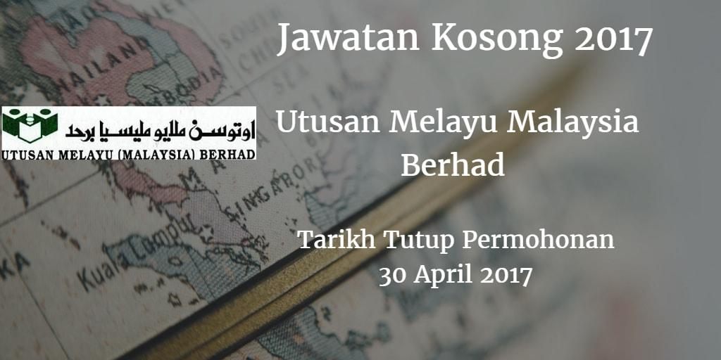 Jawatan Kosong Utusan Melayu Malaysia Berhad 30 April 2017