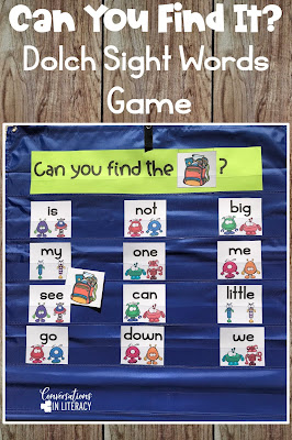 sight word games, sight word picture cards, pocket chart