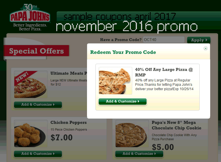 Papa Johns coupons and promo codes. Trust coolnupog.tk for Pizza savings. Coupon Codes. Exclusive Offers. Papa Johns Coupons & Promo Codes. no offers in December, Coupon Codes / Food & Grocery / Restaurants / Pizza / Papa Johns Promo Code. Add to Your Favorites.