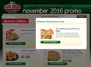 Papa Joes Pizza coupons april
