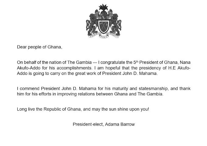 Gambia President-Elect Adama Barrow Congratulate Nana Akuffo-Addo