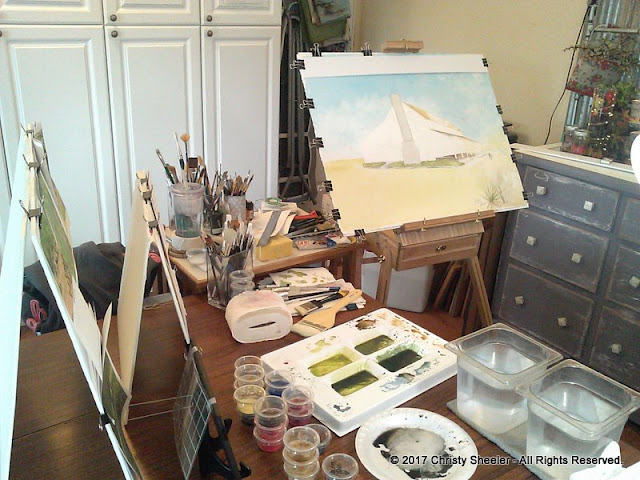 A view of my work area and the artwork in its beginning stages.