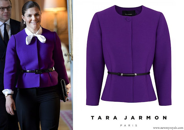 Crown Princess Victoria wore Tara Jarmon Purple Belted Wool Twill Jacket
