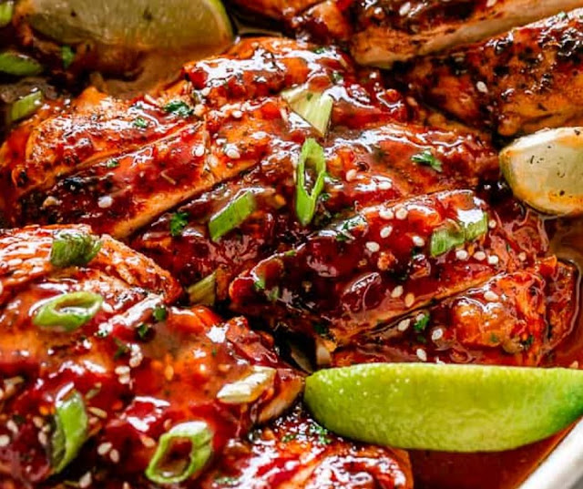 Honey Sriracha Baked Chicken Breasts