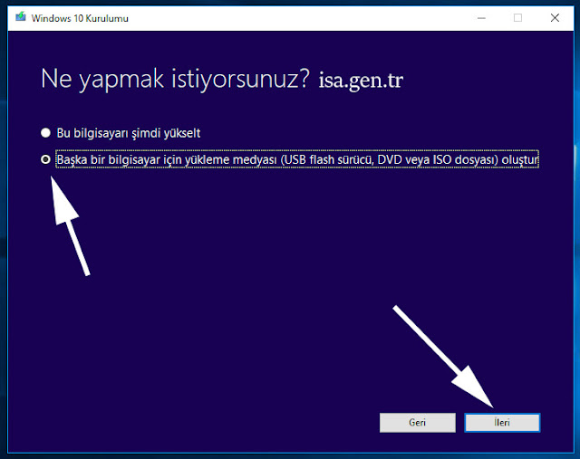 windows 10 iso dosyası oluştur