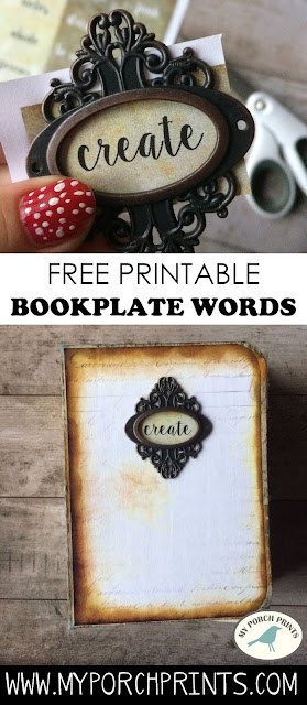 Journal Words for Bookplates: Free Printable Download My Porch Prints