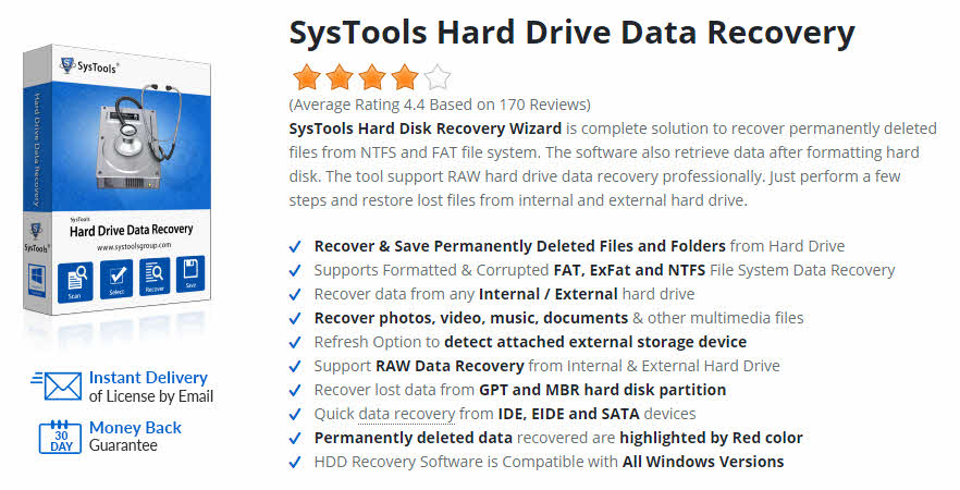 SysTools Hard Drive Data Recovery is best software to restore lost files