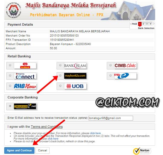 Senarai jenis bayaran saman MBMB secara online