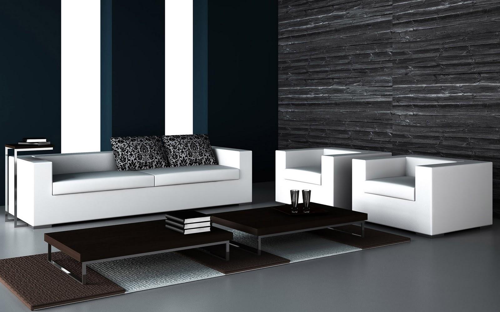Diseño De Salas Minimalistas En Blanco Y Negro