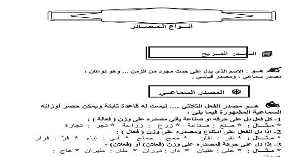 مذكرة شرح قواعد النحو للصف الثالث الإعدادي الترم الثاني
