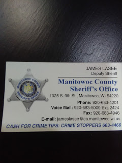 Manitowoc County Sheriff James Lasee's business card