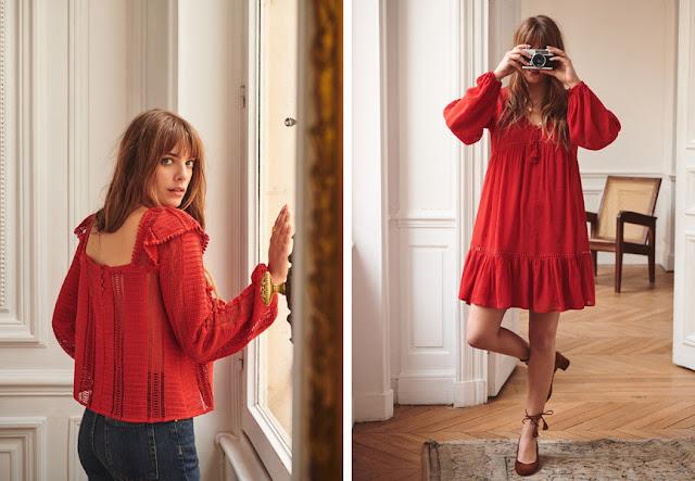 Блузка и платье нейтрального по температуре красного цвета