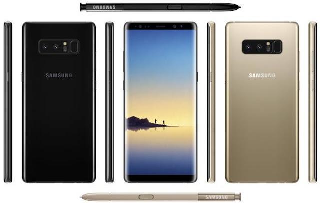 قرب الإعلان عن Samsung Galaxy Note 8 باللون الذهبي والأسود بحساس بصمة وكاميرا خلفية مزدوجة
