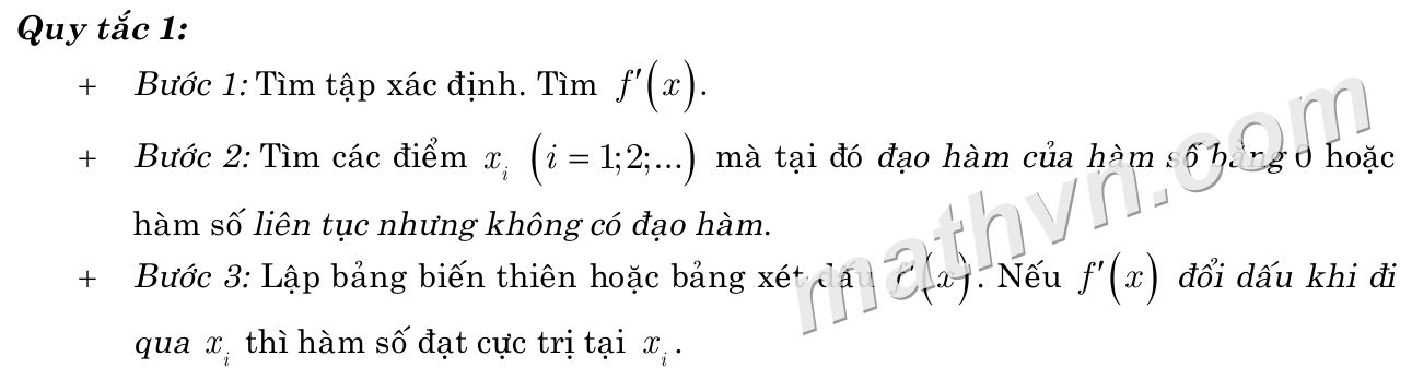 quy tắc 1 tìm cực trị hàm số