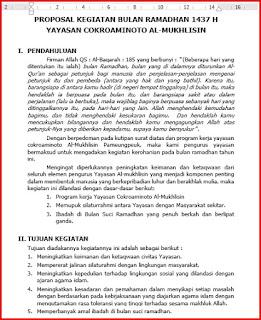 proposal pengajuan dana kegiatan buka puasa bersama - bulan ramadhan 1437 Hijriyah