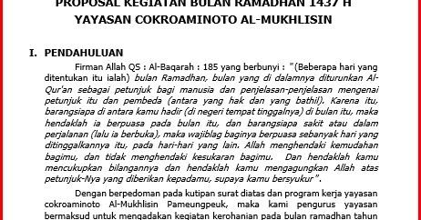 Contoh Proposal Buka Puasa Bersama Tahun 1437 Hijriyah Atau 2016