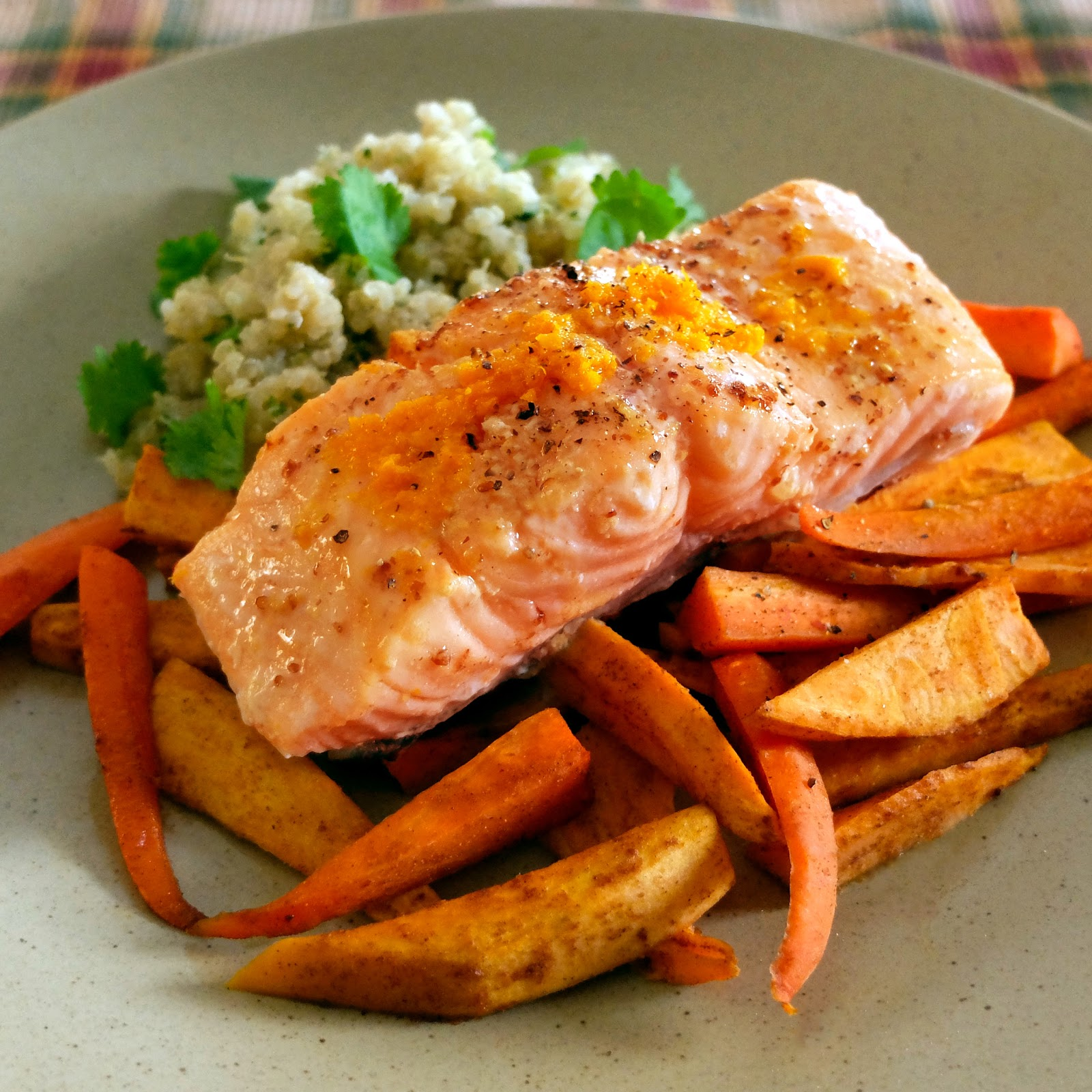 A cozy salmon supper for six featuring quinoa, carrots and sweet potatoes.