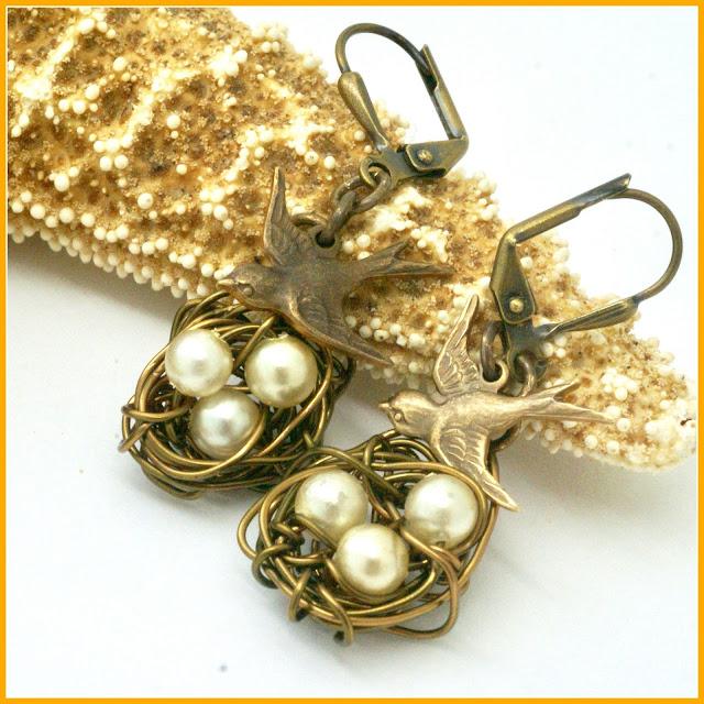 Eggs in Nest Earrings by BayMoonDesign