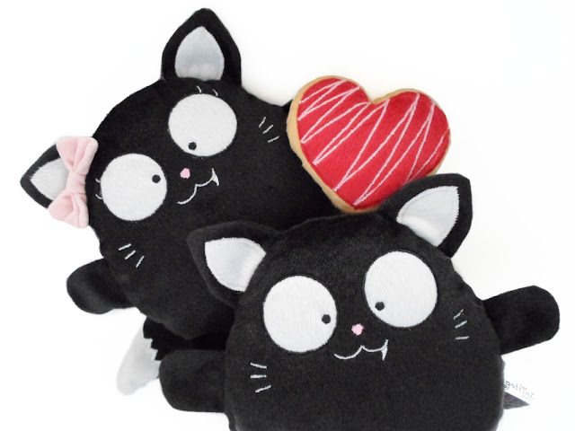 Pareja de aniversario personalizada, gatos negros de peluche guyuminos regalo boda amor gatito kawaii tierno, presente halloween, gatito gótico, catlover, plushies