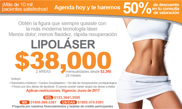 precio costo de lipolaser lipolisis lipoescultura laser en guadalajara mexico