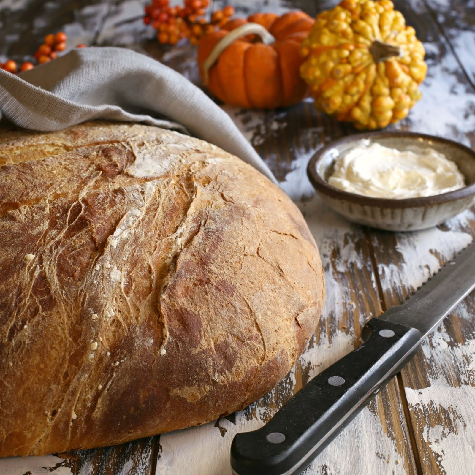 Savory crusty pumpkin bread with a light egg bread texture.