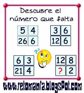 Retos matemáticos, Desafíos matemáticos, Retos para pensar, Problemas matemáticos, El número que falta, Cuadrados mágicos, ¿Cuál es el número que falta?