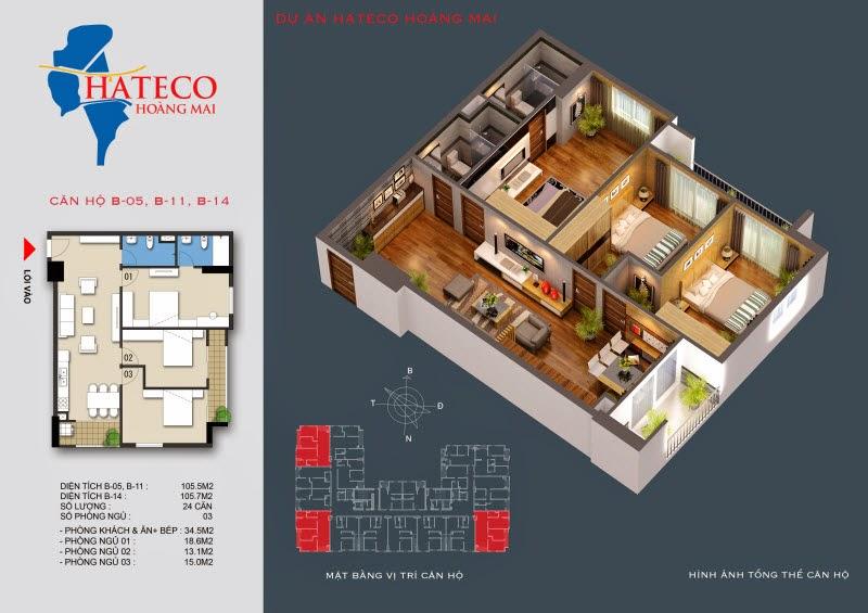 mặt bằng chung cư Hateco Hoàng Mai căn hộ B2711