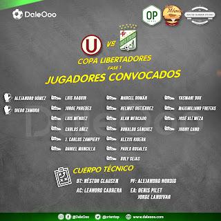 Convocados de Oriente Petrolero para enfrentar a Universitario de Deportes de Perú - Copa Conmebol Libertadores - DaleOoo