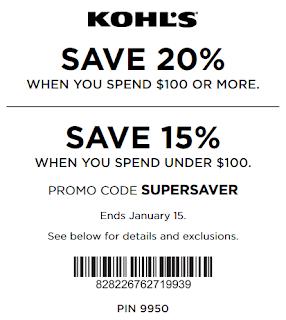 Kohls coupon 20% OFF $100 order