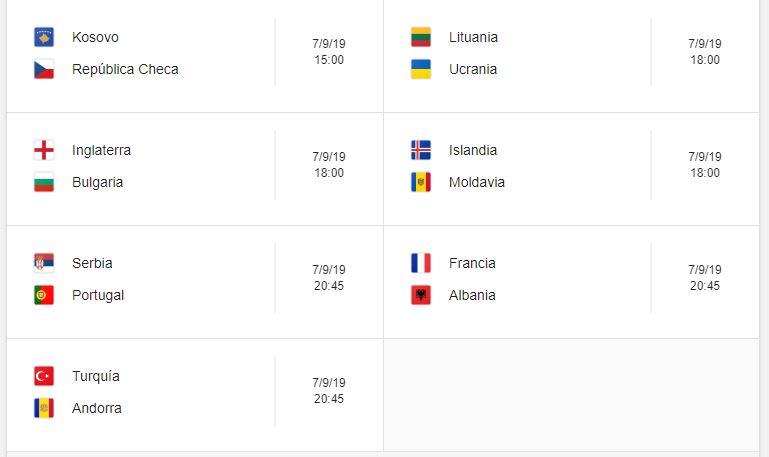 7 Calendario eliminatorias Eurocopa 2020 - 7 de septiembre 2019. Partidos de clasificación Eurocopa 2020. Juegos de las eliminatorias Eurocopa 2020. Partidos, fechas, hora, transmisiones eliminatorias Eurocopa 2020. Donde ver la Eurocopa 2020