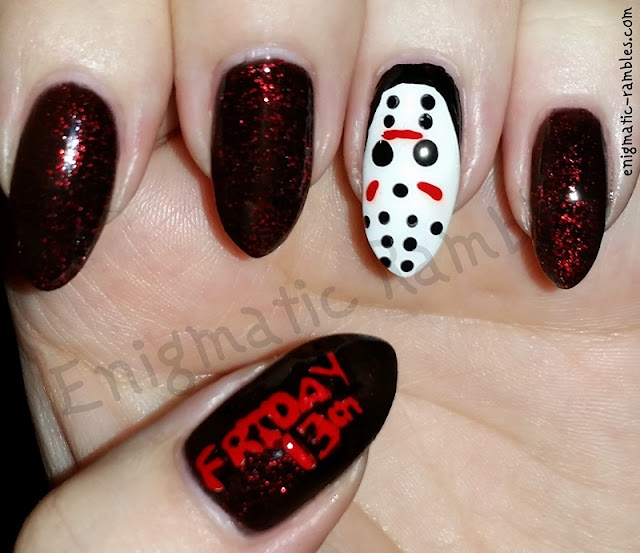 Jason-Voorhees-Mask-Nails-Halloween-Nail-Art