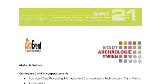 CHNT 2016: book of abstracts online!