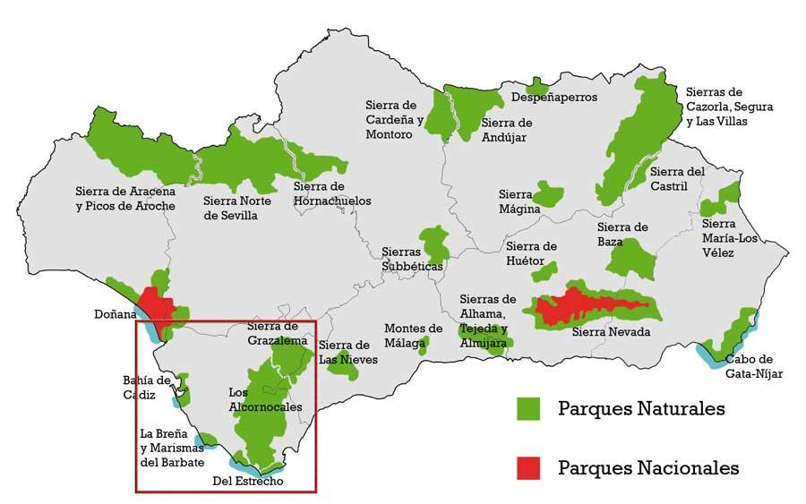 Mapa de los Parques Naturales de Andalucía